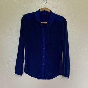 American Eagle Navy Blue Silky Button Up Blouse